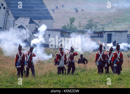 The Battle of Waterloo 175th anniversary re-enactment on June 19th 1990:   The attack on the farmhouse at La Haye - Stock Photo