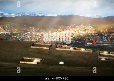 Mongolia ger camp Ulan Bator morning sun rays - Stock Photo