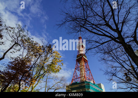 The Sapporo TV Tower, built in 1957, is a 147.2m high TV tower with an observation deck at a height of 90.38m. Located - Stock Photo