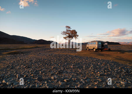 Camping site camper van sunset light lonely tree Mongolia river bed russian UAZ 452 - Stock Photo