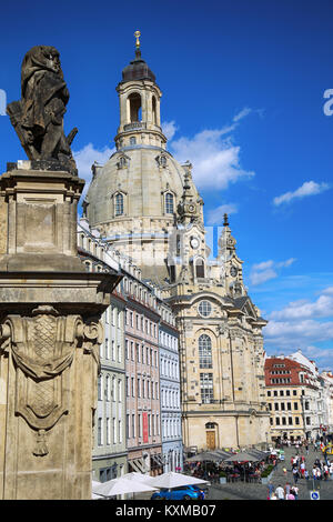 DRESDEN, GERMANY – AUGUST 13, 2016: People walk on Neumarkt Square at Frauenkirche (Our Lady church) in the center - Stock Photo