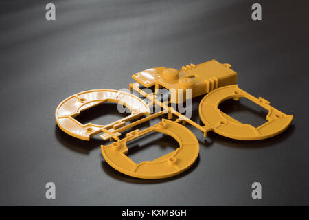 Industrial injection molding press  the manufacture of plastic parts - Stock Photo
