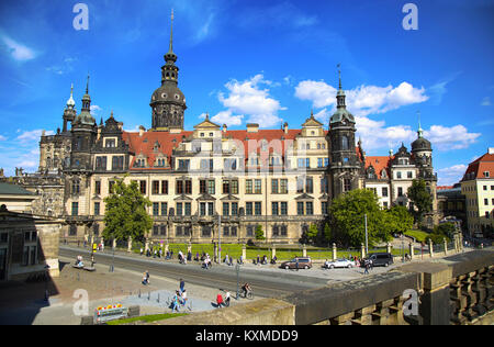 DRESDEN, GERMANY – AUGUST 13, 2016: Tourists walk on Sophienstrasse street and majestic view on  Saxony Dresden - Stock Photo