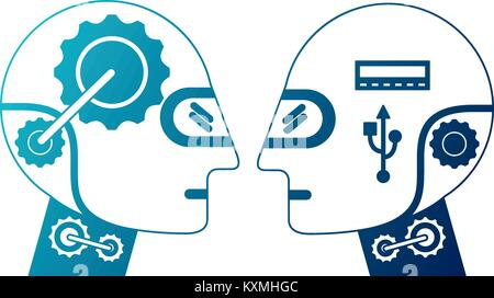 humanoids robots profiles icon - Stock Photo