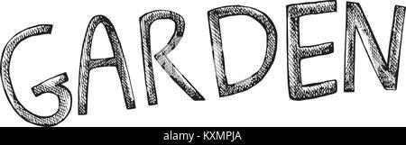 Word- Garden. Grafic illustration of garden theme. Isolated on white background. - Stock Photo