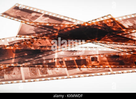 Exposed and Developed 35mm Kodak film negative strips, Eastman Kodak Company was founded in 1888 - Stock Photo