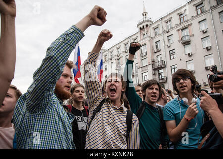Moscow, Russia. 12th June, 2017. Protesters seen shouting slogans.Anti-corruption protest organised by opposition - Stock Photo