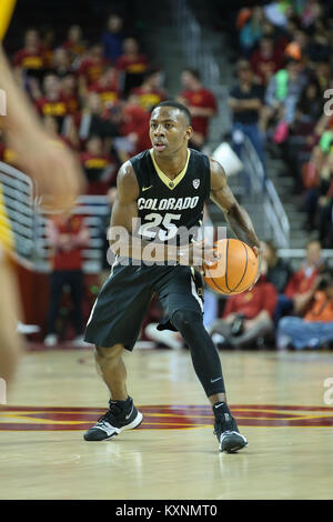 January 10, 2018: Colorado Buffaloes guard McKinley Wright IV (25) in a NCAA Basketball game between the Colorado - Stock Photo
