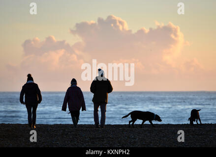 Newhaven, UK. 10th Jan, 2018. Stunning sunet at Newhaven after a glorious bright winter day. Credit: Peter Cripps/Alamy - Stock Photo