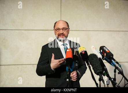 Berlin, Germany. 11th Jan, 2018. Leader of German Social Democratic Party (SPD) Martin Schulz speaks before the - Stock Photo