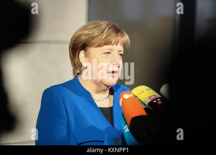 Berlin, Germany. 11th Jan, 2018. German Chancellor and leader of German Christian Democratic Union (CDU) Angela - Stock Photo