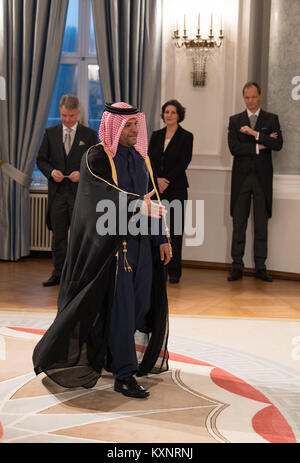 Berlin, Germany. 11th Jan, 2018. The embassador of Qatar, Sheik Saoud bin Abdulrahman Hassan Al-Thani, during the - Stock Photo