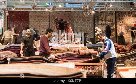 Hanover, Germany. 11th Jan, 2018. Oriental carpets are displayed at exhibition hall 2 for the world fair Domotex - Stock Photo