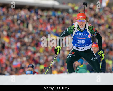 Ruhpolding, Germany. 11th Jan, 2018. Biathlete Laura Dahlmeier from Germany skis during the race at Chiemgau Arena - Stock Photo