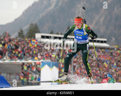 Ruhpolding, Germany. 11th Jan, 2018. Biathlete Franziska Preuss from Germany skis during the race at Chiemgau Arena - Stock Photo
