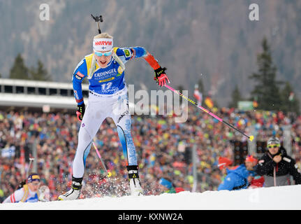 Ruhpolding, Germany. 11th Jan, 2018. Biathlete and second placed Kaisa Mäkäräinen at Chiemgau Arena in Ruhpolding, - Stock Photo