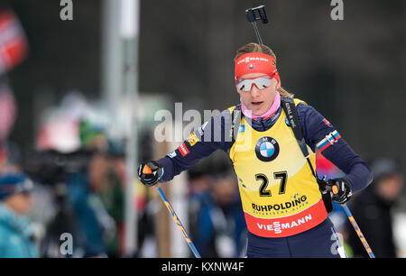 Ruhpolding, Germany. 11th Jan, 2018. Biathlete Anastasiya Kuzmina from Slovakia skis during the race at Chiemgau - Stock Photo