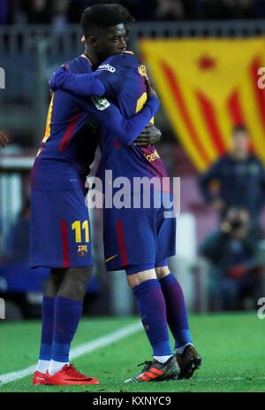 Barcelona, Spain. 11th Jan, 2018. FC Barcelona's Lionel Messi (R) is substituted by French Ousmane Dembele during - Stock Photo