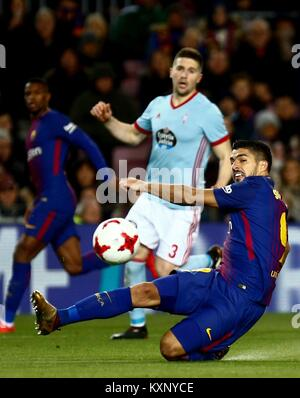 Barcelona, Spain. 11th Jan, 2018. FC Barcelona's Luis Suarez (R) in action during the King's Cup round of 16 match - Stock Photo
