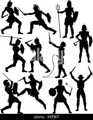 Set of editable vector silhouettes of fighting female gladiators with figures and weapons as separate objects - Stock Photo