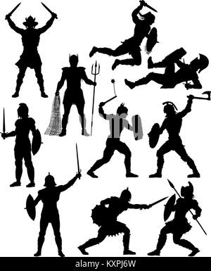 Set of editable vector silhouettes of fighting gladiators with figures and weapons as separate objects - Stock Photo