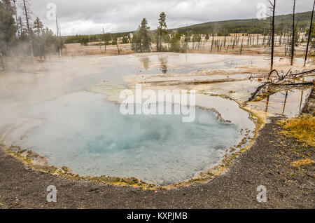 Beautiful turquoise or aqua color in the middle of this hot springs pool in Yellowstone National Park - Stock Photo