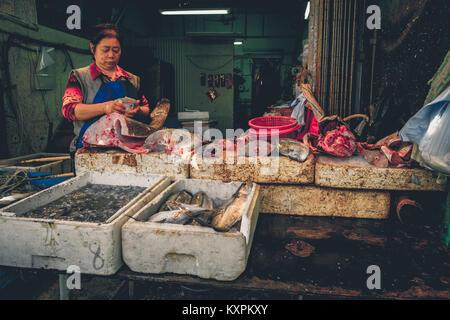 Fish market at Tai O on Lantau Island in Hong Kong. - Stock Photo