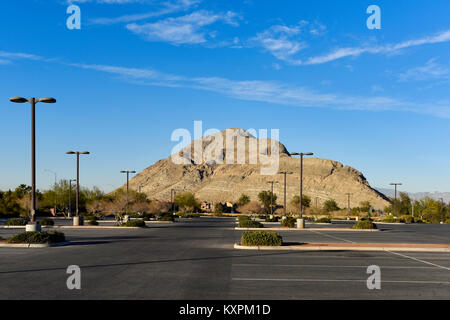 Lone Mountain on the Northwest end of Las Vegas. - Stock Photo