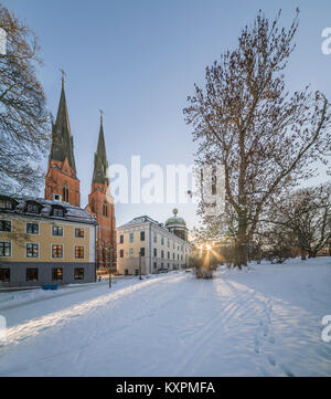 Gustavianum and the Cathedral (Domkyrkan) at the University park with snow int the winter. Uppsala, Sweden, Scandinavia - Stock Photo