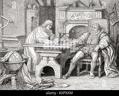 Johannes Kepler, left and Rudolf II, right.  Johannes Kepler, 1571 – 1630. German mathematician, astronomer and - Stock Photo