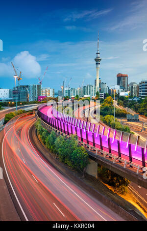 Auckland. Cityscape image of Auckland skyline, New Zealand at dawn. - Stock Photo