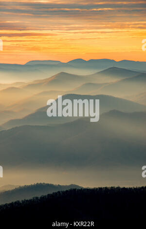Sunrise from Clingman's Dome, Great Smoky Mountains NP, TN, USA, by Bill Lea/Dembinsky Photo Assoc - Stock Photo