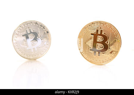 gold silver bitcoin isolated on white background - Stock Photo