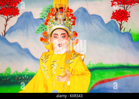 BANGKOK, THAILAND - JANUARY 17 2016: Chinese opera  performed for a lunar new year celebration at a Chinese shrine - Stock Photo