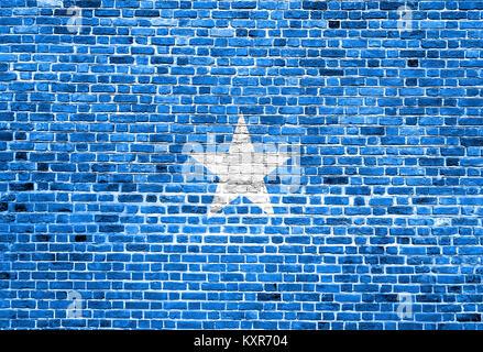 Flag of Somalia painted on brick wall - Stock Photo