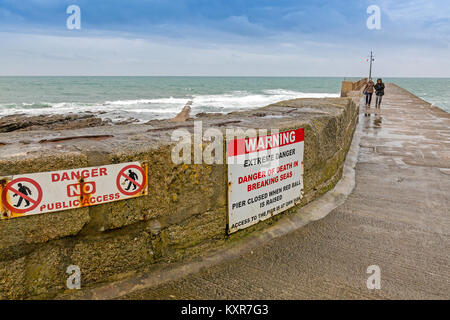 Warning signs on South West Trains railway line near ...