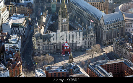 aerial view of Manchester Town Hall at Christmas, UK - Stock Photo