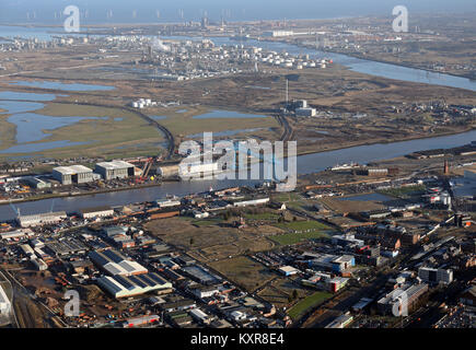 aerial view of the Transporter Bridge & Teesside industry on the River Tees, UK - Stock Photo