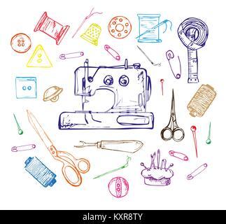 Hand drawn thread, needle, scissors, ball of yarn, knitting needles, crochet. Vector illustration in a sketch style. - Stock Photo