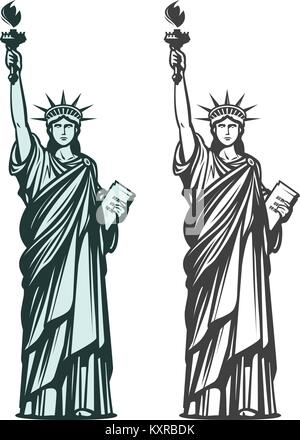 Statue of liberty. Symbol of New York or USA. Vector illustration - Stock Photo