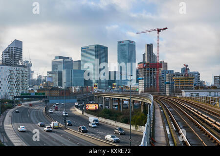 Canary Wharf Business District, East London UK, from East India DLR station - Stock Photo