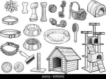 Pet toy collection illustration, drawing, engraving, ink, line art,   vector - Stock Photo