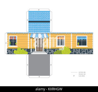 Make your own toy house paper craft vector assembly model - Stock Photo