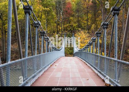 Popolopen Suspension Footbridge at Bear Mountain State Park, New York, USA. - Stock Photo