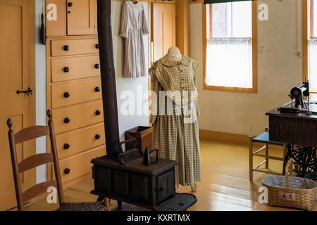Sewing room at Canterbury Shaker Village, New Hampshire, USA.