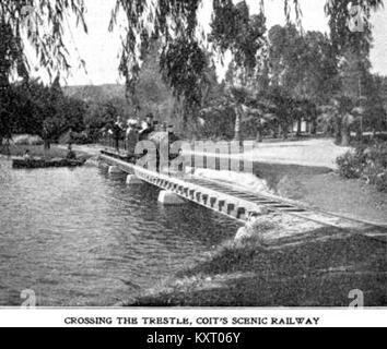 Eastlake Park Scenic Railway - Crossing the trestle, Coit's scenic railway - Stock Photo