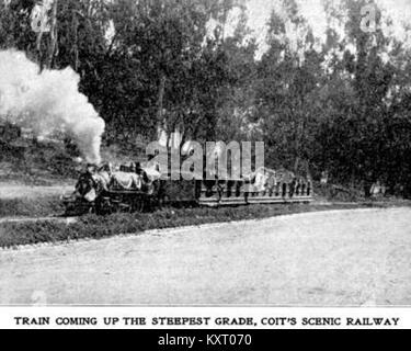 Eastlake Park Scenic Railway - Train coming up the steepest grade, Coit's scenic railway - Stock Photo