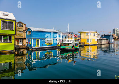 Fisherman's Wharf a colourful float home community in Victoria on Vancouver Island in British Columbia, Canada - Stock Photo