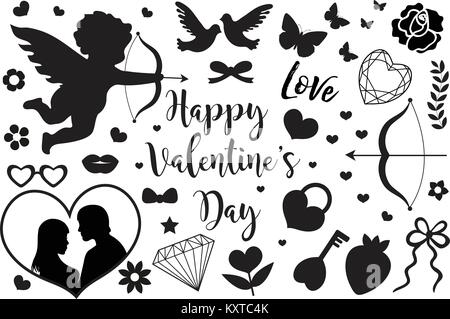 Happy Valentine's Day set of icons stencil black silhouette. Cute romance love collection of design elements with - Stock Photo