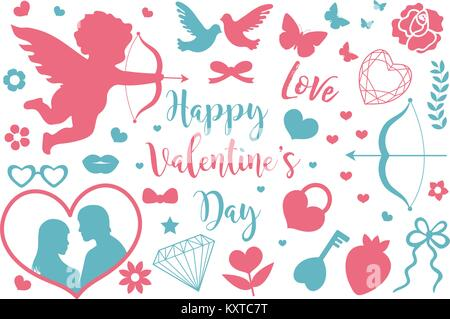 Happy Valentine's Day icon set of stencil silhouettes. Cute romance love collection of design elements with cupid, - Stock Photo